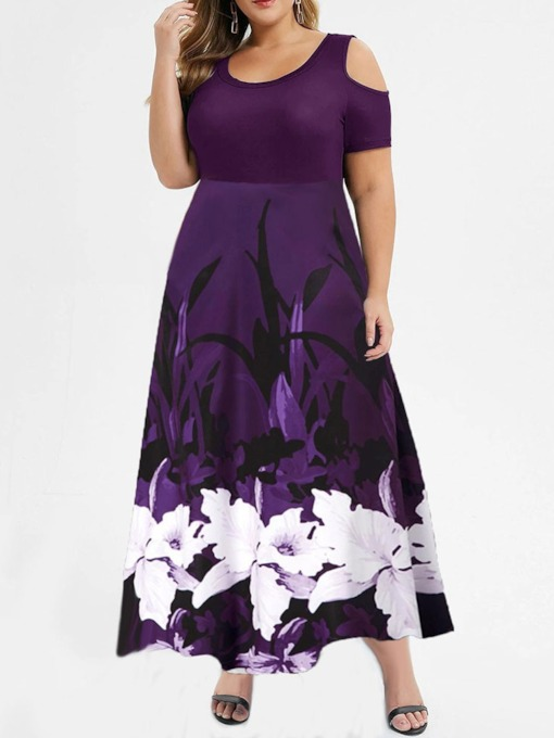 Plus Size Floor-Length Print Scoop Short Sleeve Regular Women's Dress