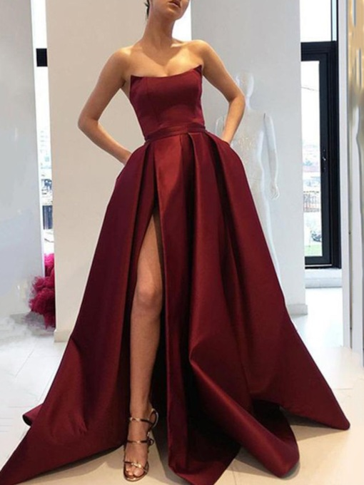 Strapless Pockets Split-Front Evening Dress 2020