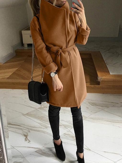Lace-Up Regular Big Lapel Collar A Line Mid-Length Women's Coat