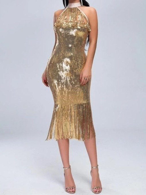 Mid-Calf Sleeveless Sequins Spring Women's Dress