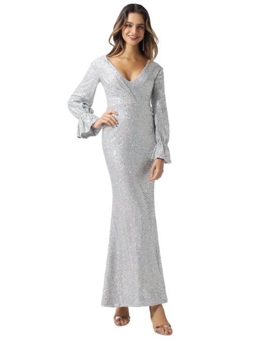 V-Neck Long Sleeves Sheath Sequins Evening Dress 2020