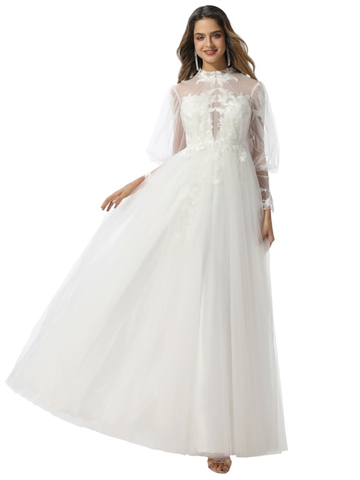 Long Sleeves Lace High Neck Wedding Dress 2020