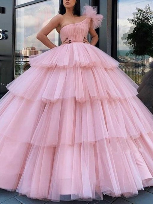 Ball Gown One Shoulder Pleats Pink Quinceanera Dress 2020