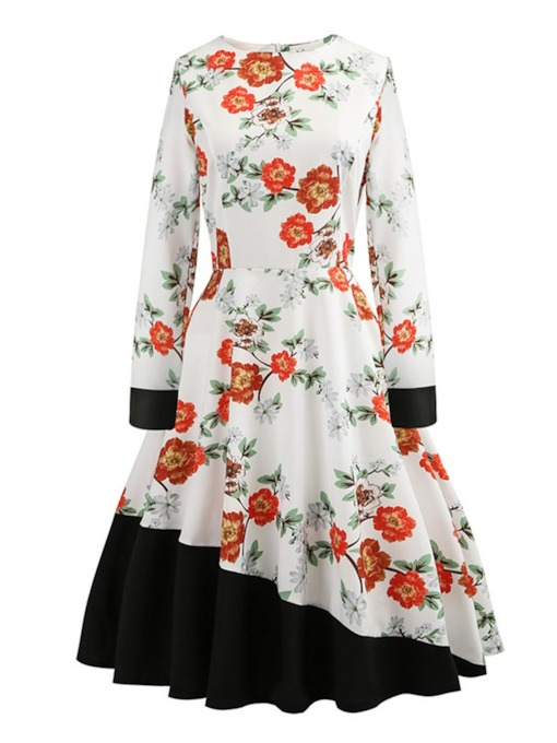 Long Sleeve Round Neck Mid-Calf Patchwork Floral Women's Dress