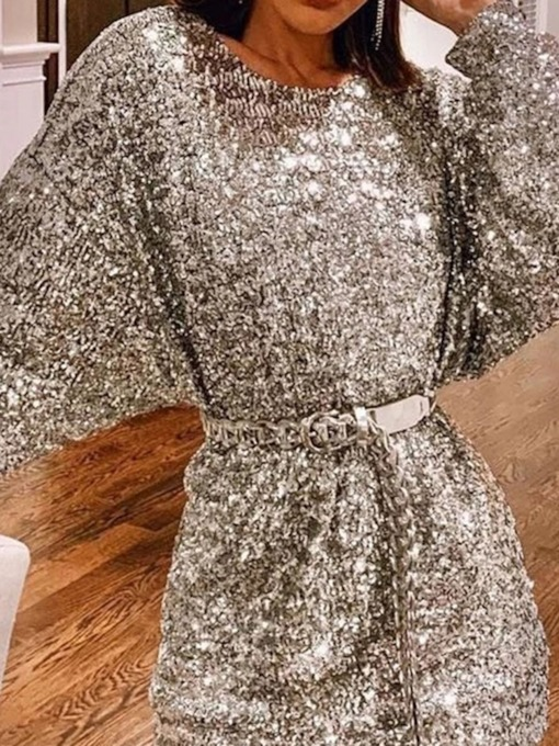 Above Knee Round Neck Long Sleeve Sequins Pullover Women's Dress