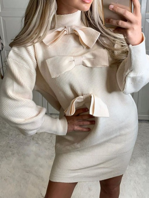 Stand Collar Above Knee Bowknot Long Sleeve Pullover Women's Dress