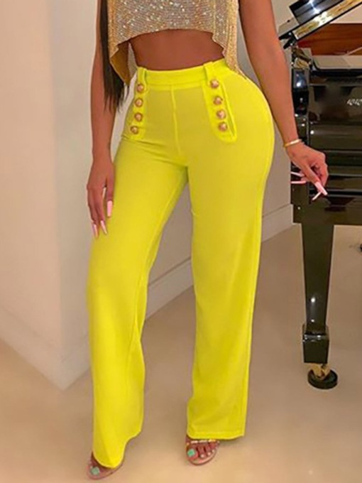 Slim Button Straight Women's Casual Pants