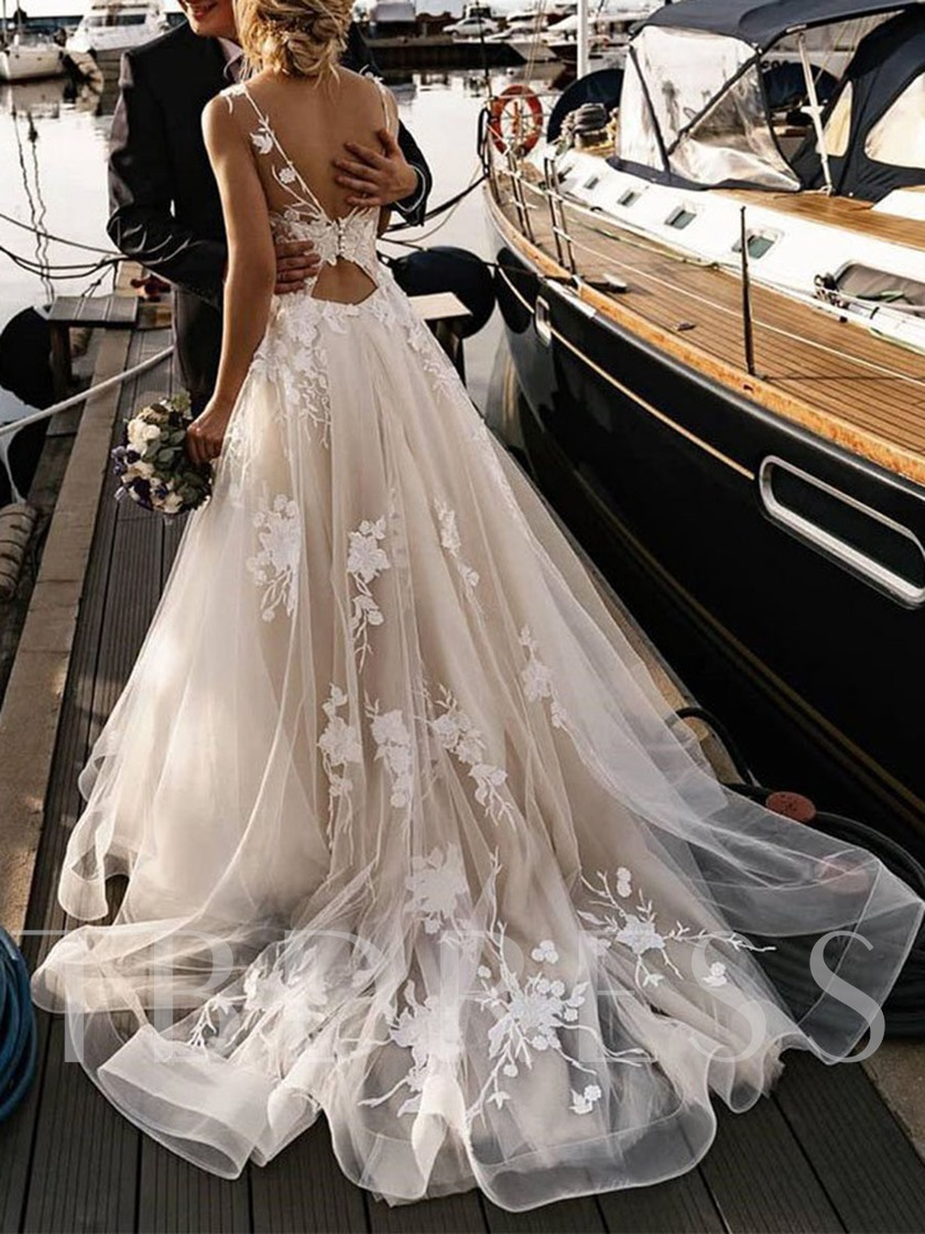 Illusion Neck Appliques Beading Hall Wedding Dress 2020