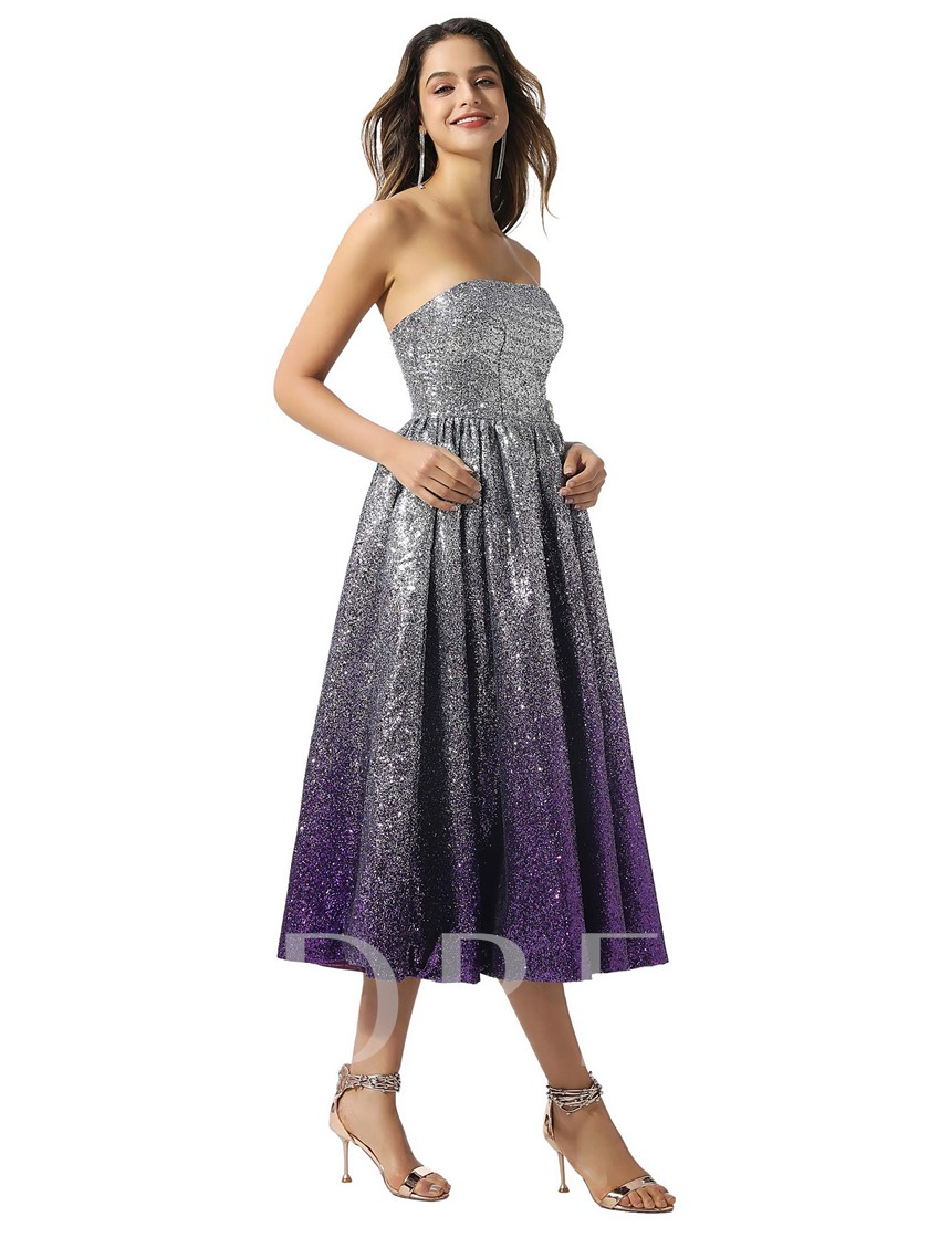 Tea-Length A-Line Sequins Cocktail Dress 2020