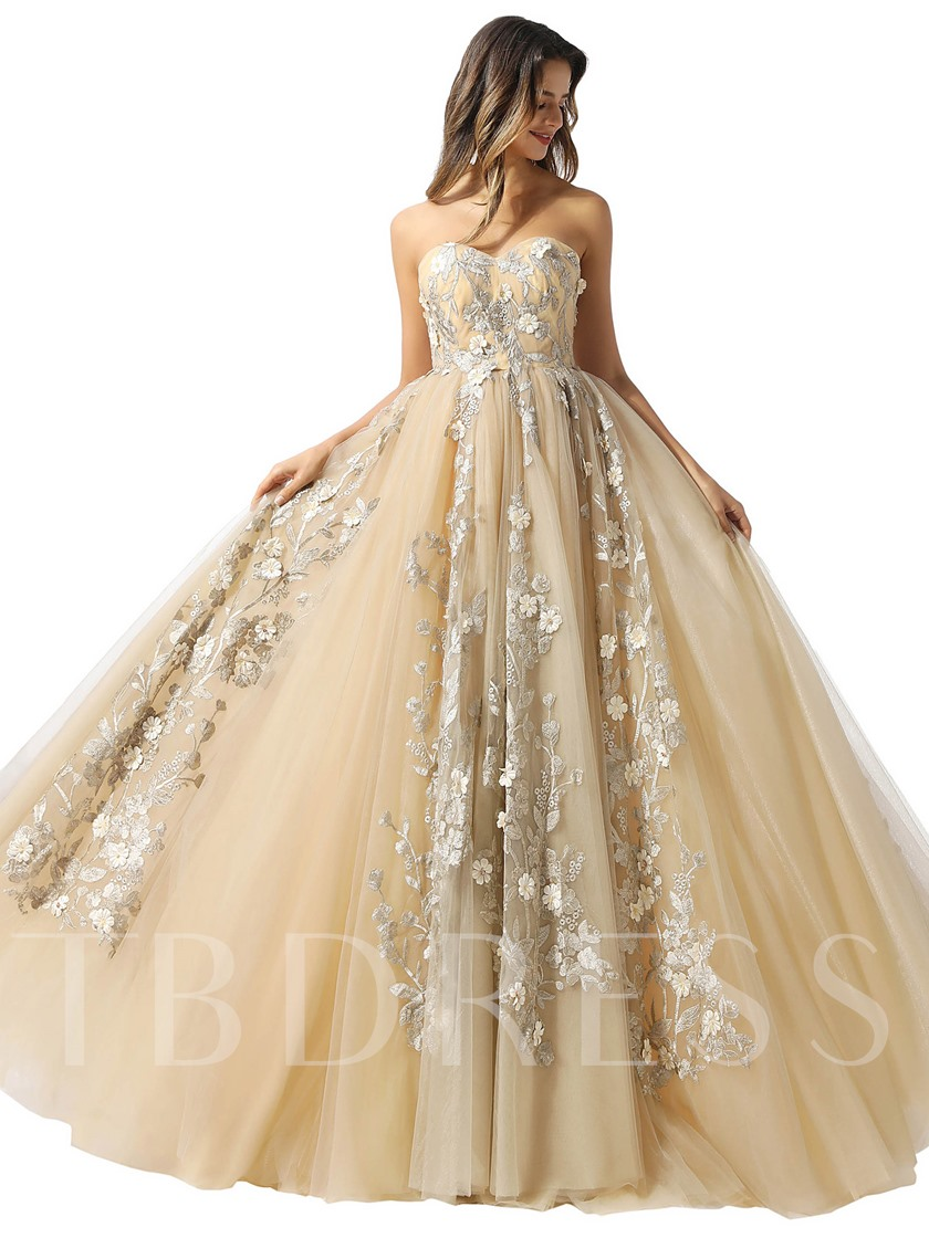 Sweetheart Appliques Flowers Lace-Up Prom Dress 2020