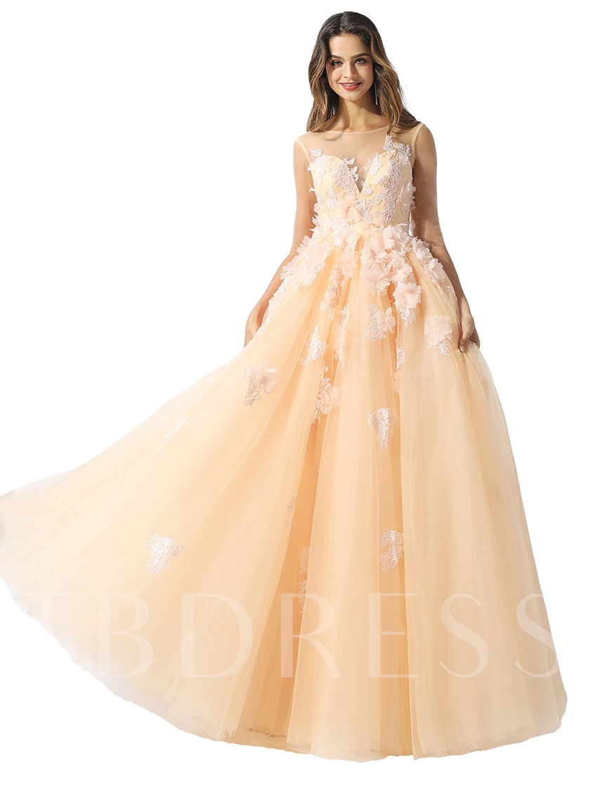 Half Sleeves Flowers Appliques Quinceanera Dress 2020