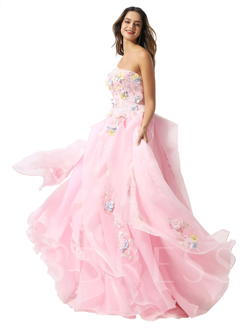 Strapless Flowers Appliques Ball Gown Prom Dress 2020