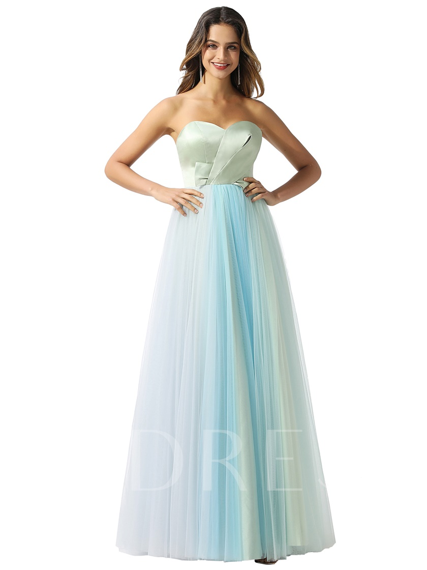 Sweetheart A-Line Pleats Contrast Color Prom Dress 2020