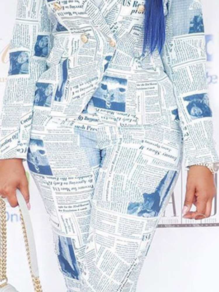 Print Casual Letter Double-Breasted Women's Two Piece Sets