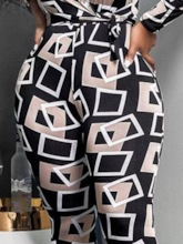 Geometric Casual Ankle Length Skinny Women's Jumpsuit