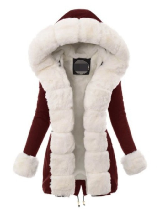Faux Fur Long Collar High Waist Thick Mid-Length Women's Cotton Padded Jacket