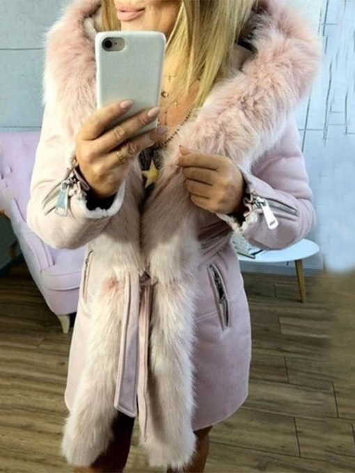 Faux Fur Long Collar Thick A Line Mid-Length Women's Cotton Padded Jacket