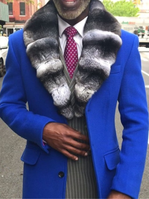 Button Color Block Lapel Mid-Length Style Single-Breasted Men's Coat