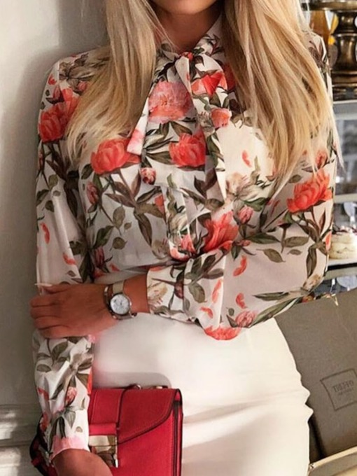 Floral Stand Collar Bowknot Standard Women's Blouse