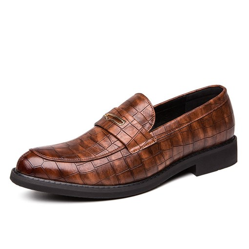 Plain Embossed Leather Low-Cut Upper Men's PU Leather Shoes