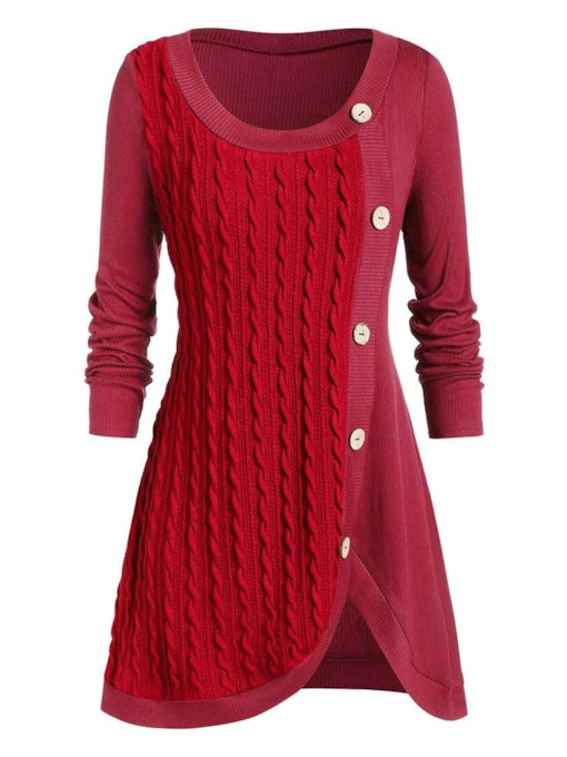Plus Size Regular Button Mid-Length Women's Sweater