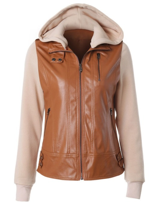 Zipper Hooded Patchwork Straight Standard Women's Jacket