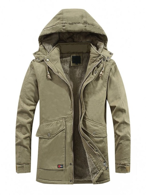 Mid-Length Style Hooded Plain Color Pocket Casual Men's Down Jacket