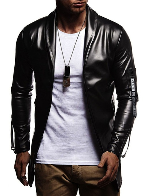 Plain Color Lapel Zipper Style Casual Men's Leather Jacket