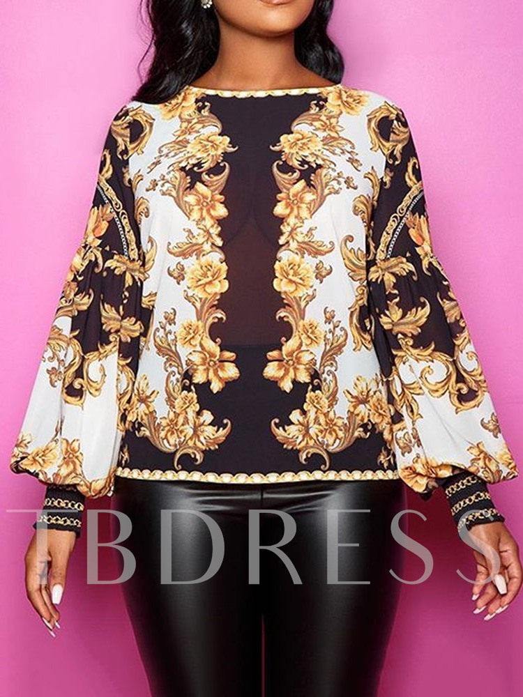 Round Neck Color Block Print Lantern Sleeve Long Sleeve Women's Blouse