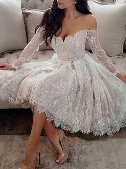 Off the Shoulder Lace Long Sleeves Cocktail Dress