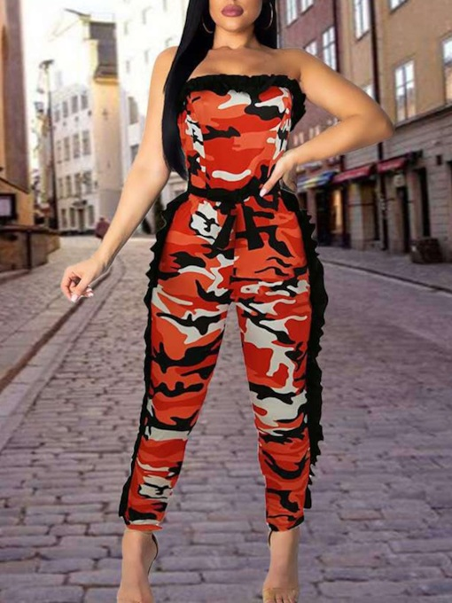 Off Shoulder Print Ankle Length Sexy Slim Women's Jumpsuit