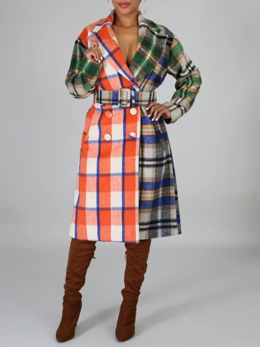 Plaid Patchwork Double-Breasted Loose Lace-Up Long Women's Overcoat