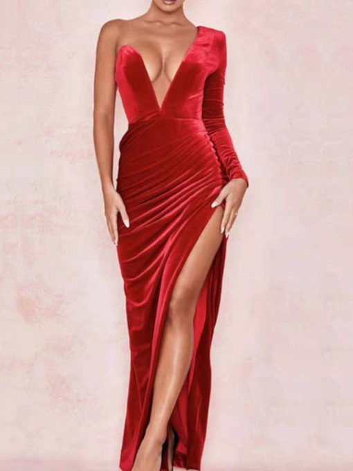 Pleated V-Neck Floor-Length Long Sleeve One-Shoulder Women's Dress