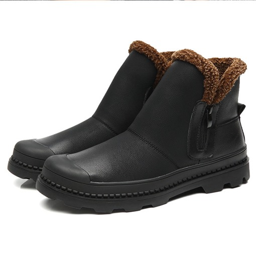 Side Zipper Round Toe Patchwork PU Men's Snow Boots
