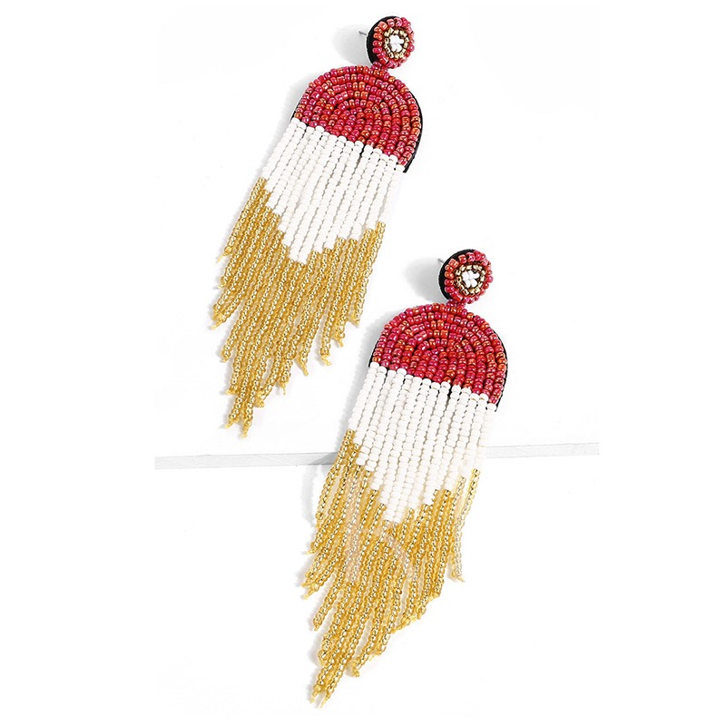 Tassel Color Block Ethnic Drop Earrings