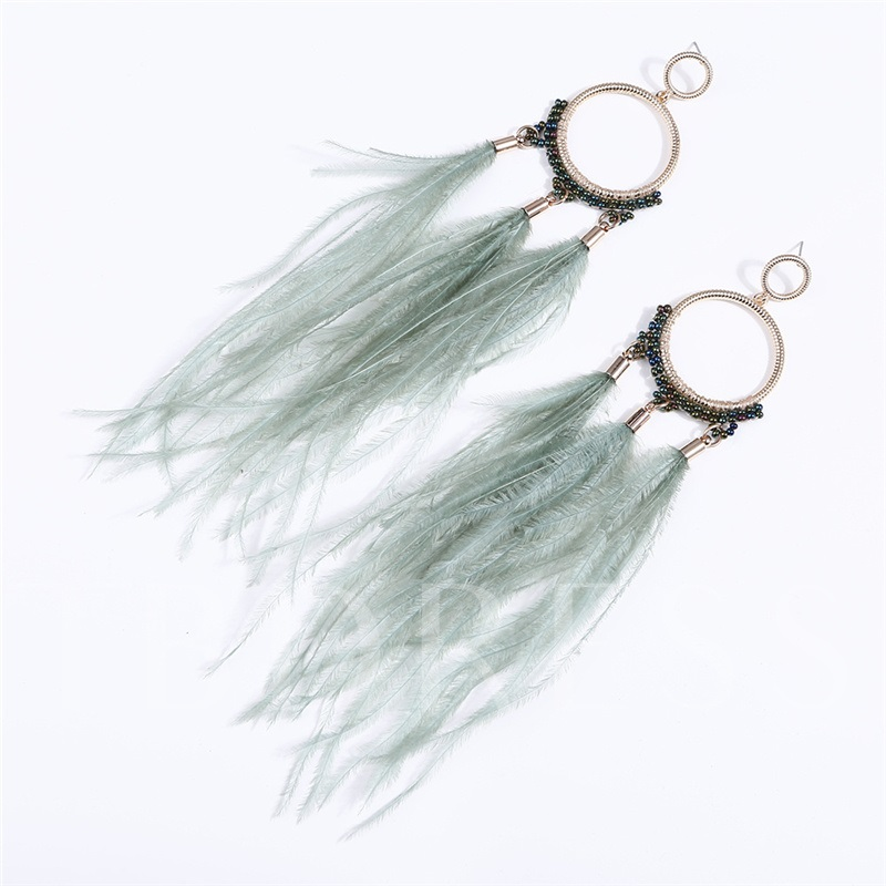 Vintage Feather Alloy Anniversary Drop Earrings