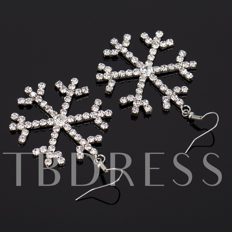 Christmas Snowflake Sweet Rhinestone Anniversary Drop Earrings
