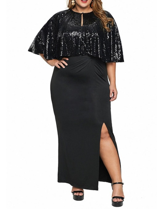 Plus Size Round Neck Split Ankle-Length Half Sleeve Fall Women's Dress