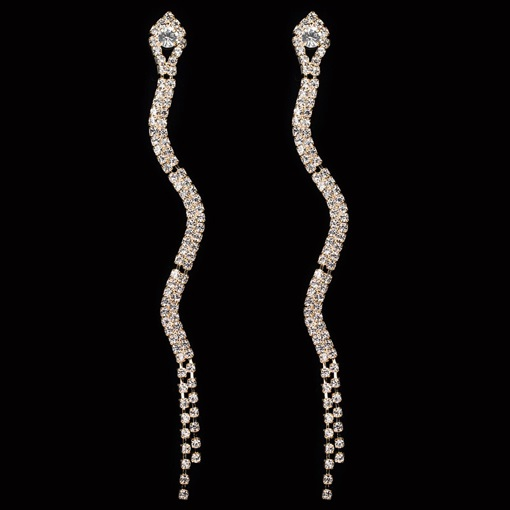 Rhinestone Snake Shape Diamante Anniversary Earrings