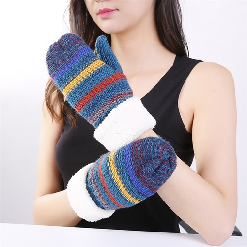 Patchwork Acrylic Stripe Winter Gloves