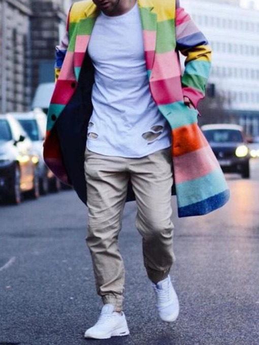 Color Block Mid-Length Casual Men's Coat