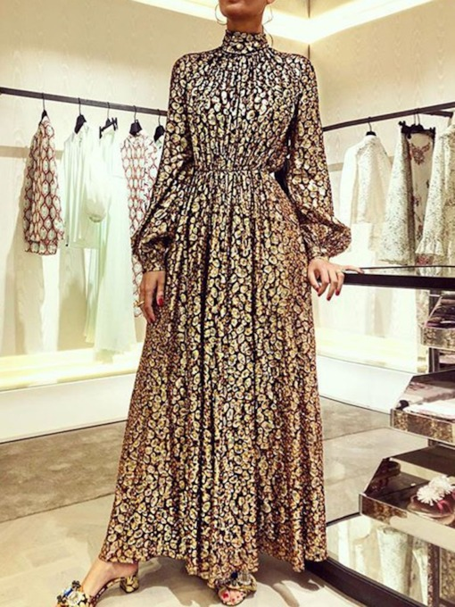 Long Sleeve Ankle-Length Print Turtleneck Pullover Women's Dress