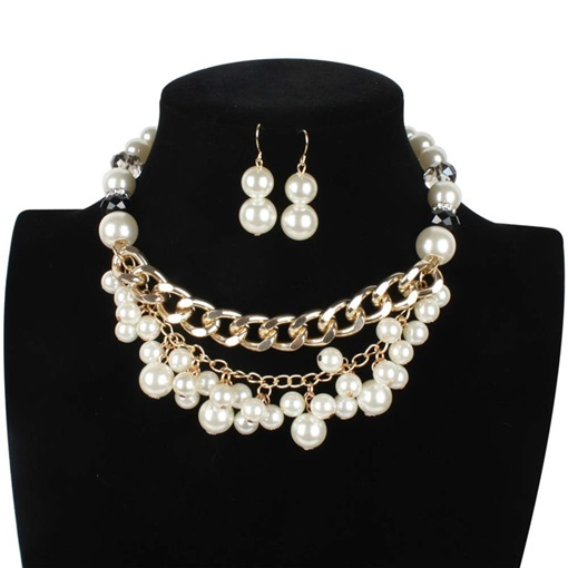 Pearl Inlaid Necklace Sweet Party Jewelry Sets