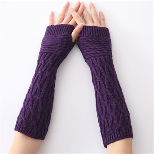 Casual Plain Acrylic Elbow Winter Gloves