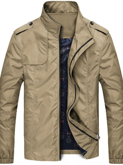 Zipper Style Thin Plain Stand Collar Men's Jacket