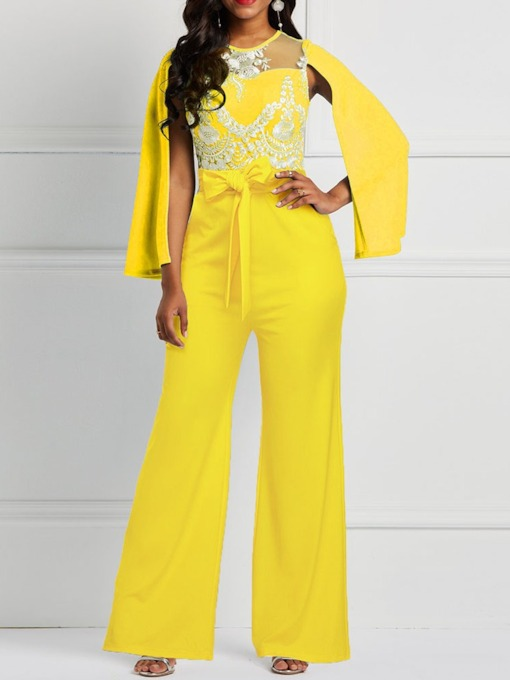 Office Lady Full Length Embroidery High Waist Women's Jumpsuit