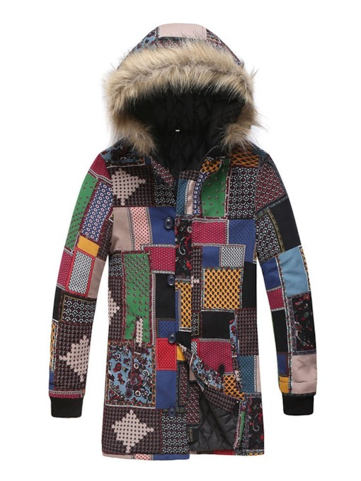 Color Block Mid-Length style Hooded Button Men's Down Jacket