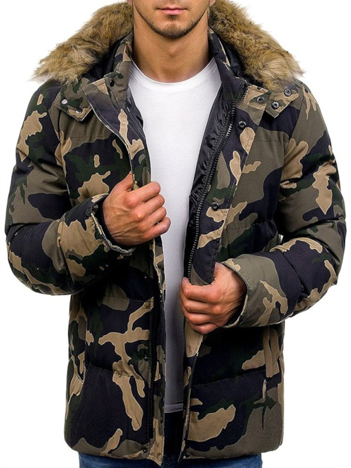Hooded Camouflage Print Mid-Length Zipper Men's Down Jacket