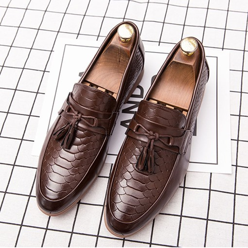 Low-Cut Upper Plain Embossed Leather PU Men's Business Shoes