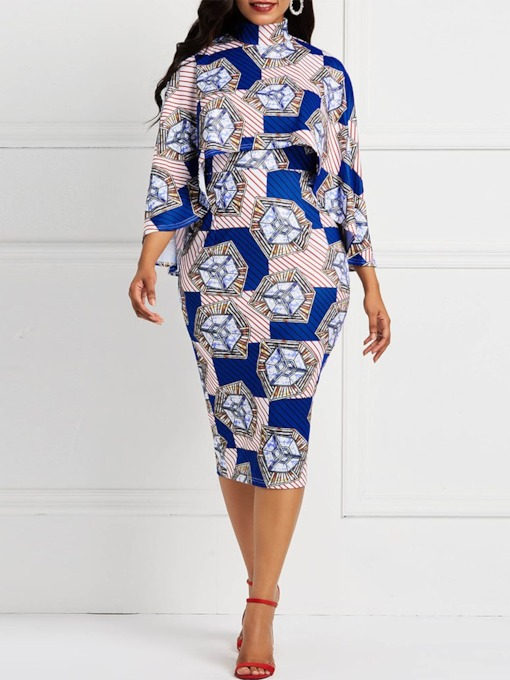 Print Mid-Calf Stand Collar Nine Points Sleeve Pullover Women's Dress